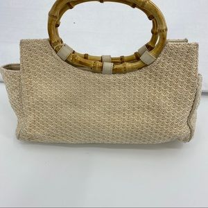 The Sak woven crochet handbag with faux bamboo
